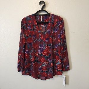 NY Collection Floral Tunic Blouse